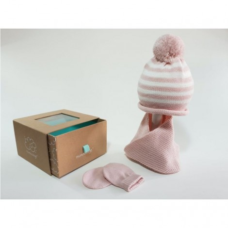 Set gorro bebe, cuello y manoplas rayas rosa