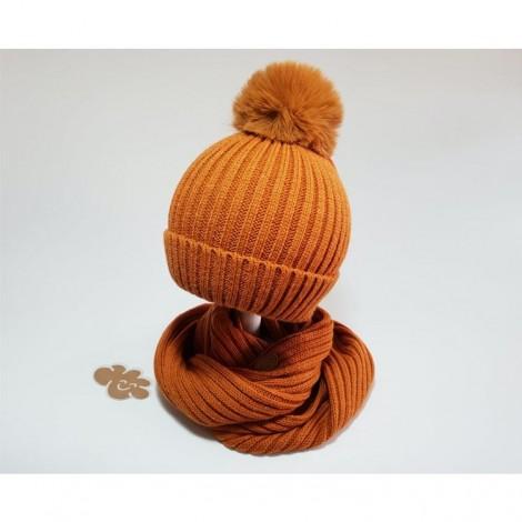 Conjunto infantil de gorro y cuello color teja
