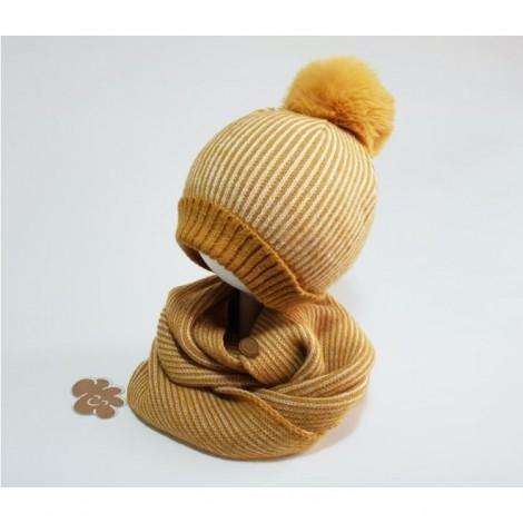 Conjunto infantil de gorro y cuello mostaza rayas