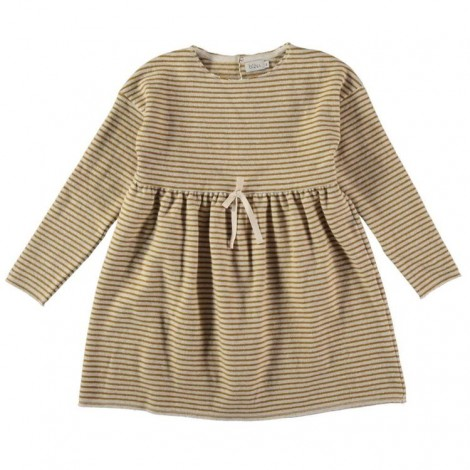 Vestido de punto para niña SUZANNE rayas en ECRU
