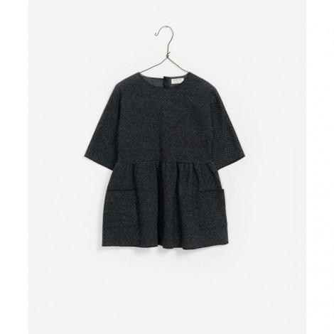Vestido niña interlock con bolsillos en ANTRACITA