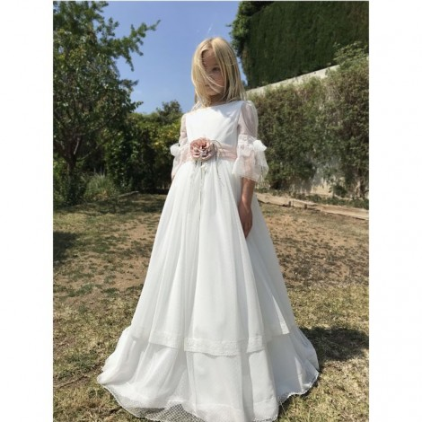 Vestido comunión falda doble plumeti CURTO