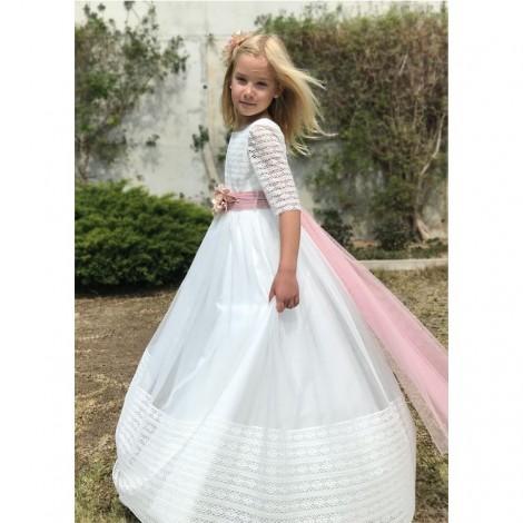 Vestido comunión con detalles en crochet de CURTO