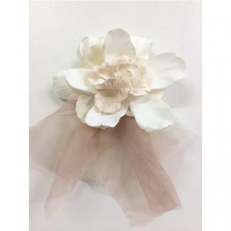 Tocado comunión ceremonia flor blanca-rosa CURTO