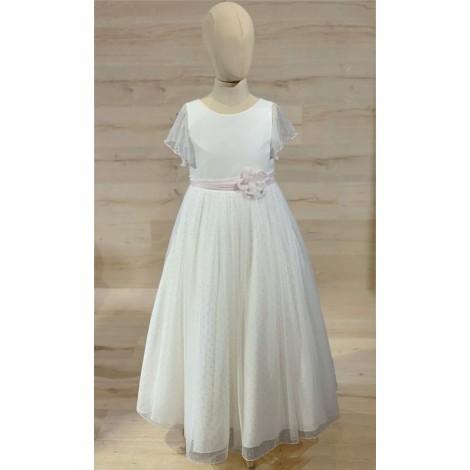 Vestido comunión lino y plumeti rosa MAGI PASCUAL
