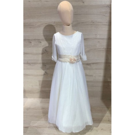 Vestido comunión lino y plumeti falso escote MAGI