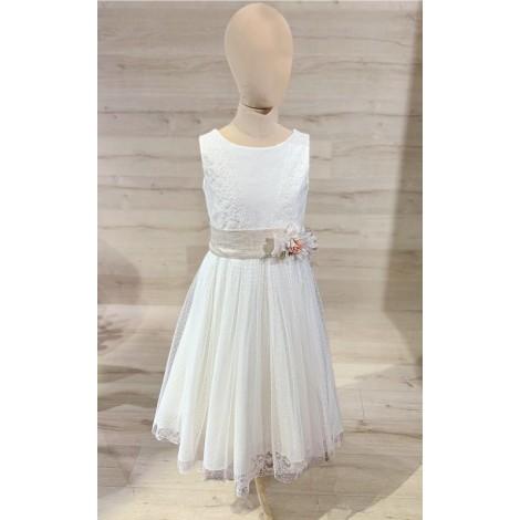Vestido comunión sin manga y blonda en falda MAGI