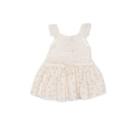 Vestido mezcla BERENICE bebé en NATURAL
