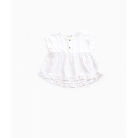 Camisa  niña mixta punto y tejido en COTTON