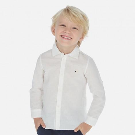 Camisa niño vestir lino blanca color Estampado