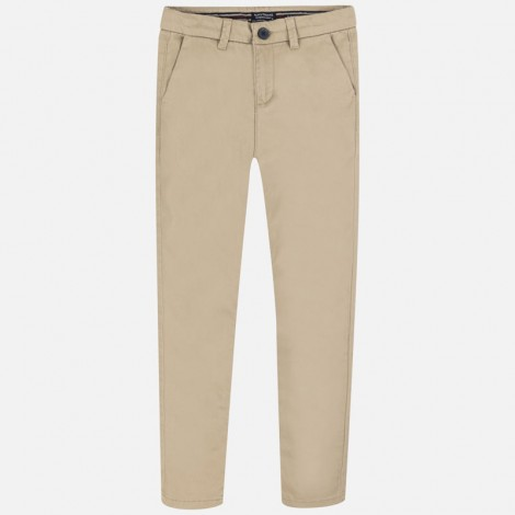 Pantalón chino niño largo slim fit color Arena
