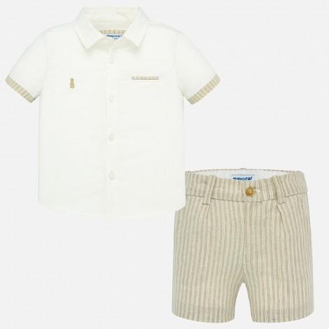 Conjunto camisa bermuda bebé lino color Pergamino