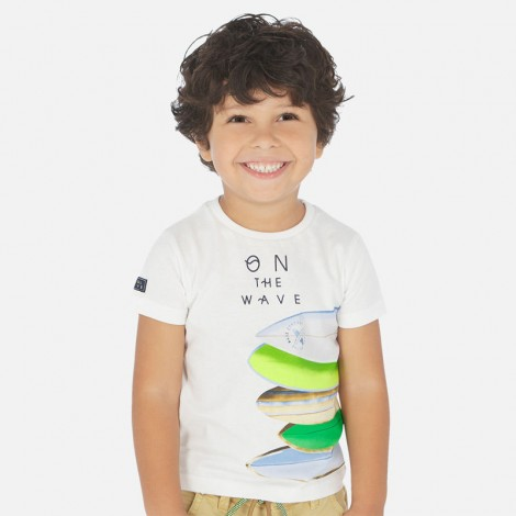 Camiseta niño manga corta tablas color Blanco