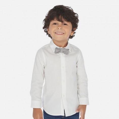 Camisa niño vestir m/l con pajarita color Blanco