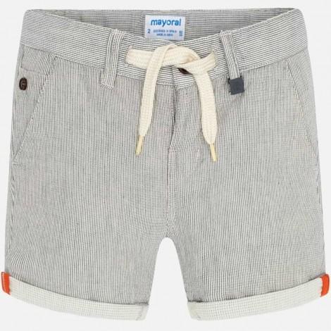 Pantalón bermuda niño a rayas color Nata