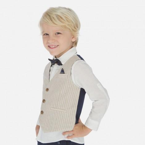Chaleco niño vestir lino tailoring color Pergamino
