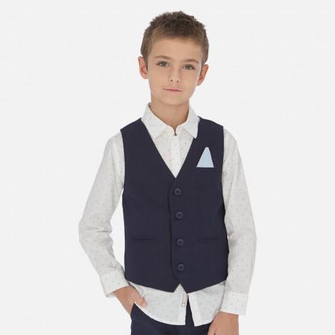 Chaleco niño vestir en lino color Marino