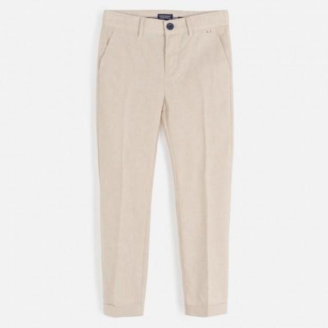 Pantalón largo vestir niño slim color Pergamino