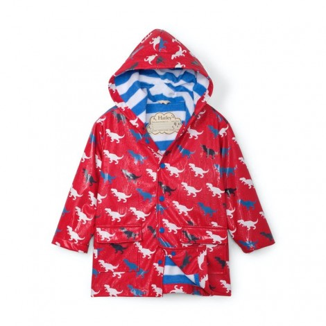 Impermeable infantil rojo DINOS que cambian color