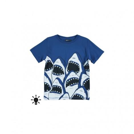 Camiseta infantil fluorescente M/C SHARKS azul