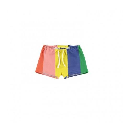Pantalón mini-short niña rayas gruesa multicolor