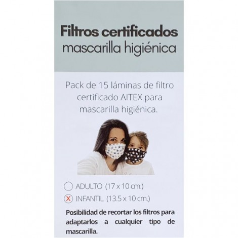 Pack 15 filtros certificados mascarilla infantil