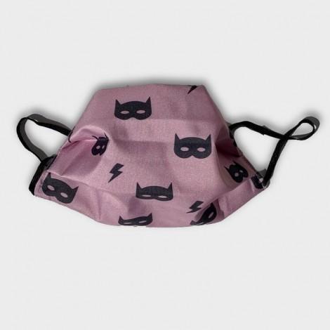 Mascarilla infantil protección covid batman rosa