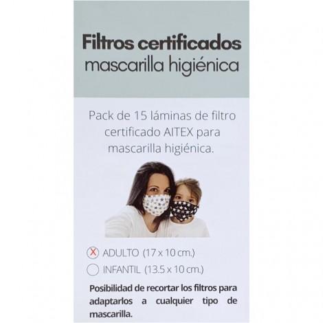 Pack 15 filtros certificados mascarilla adulto