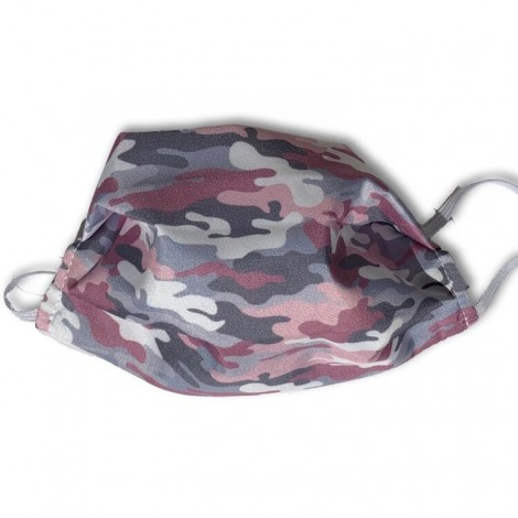 Mascarilla higiénica textil camuflaje rosa