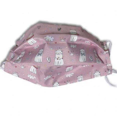 Mascarilla higiénica textil gatitas rosa