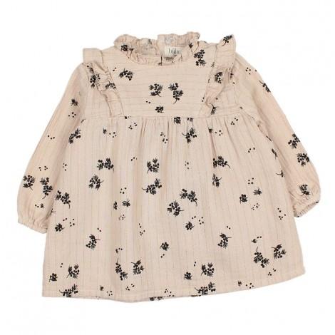 Vestido bebé CAMILA floral lurex en SAND
