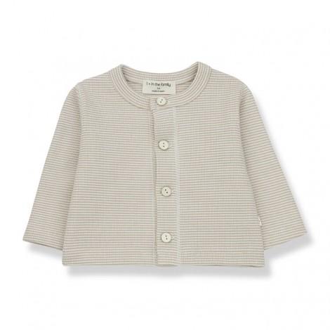 Camiseta newborn botones AGATHE de bebé en CRUDO