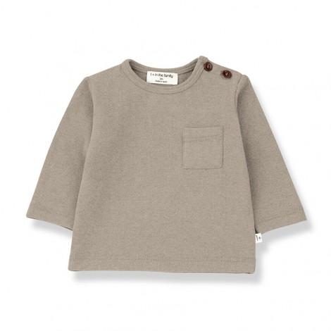 Camiseta bolsillo M/L ANETO de bebé en BEIGE