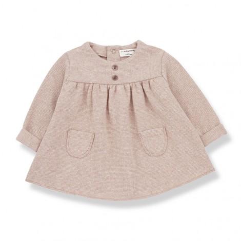 Vestido bolsillos CHARDONNET de bebé en BEIGE-ROSA
