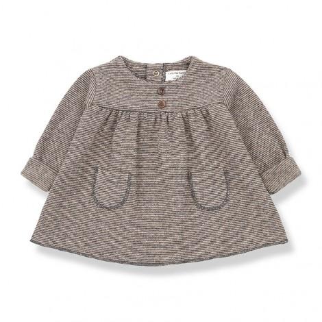 Vestido bolsillos CHARDONNET de bebé en ROSA-TIERRA