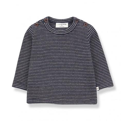 Camiseta M/L rayas JASPER de bebé en MARINO-BEIGE