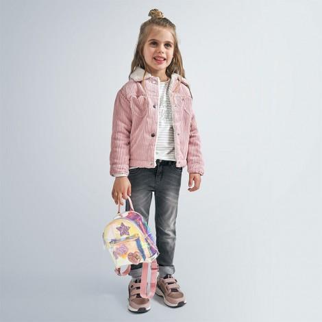 Cazadora niña en pana y borreguito color Colorete