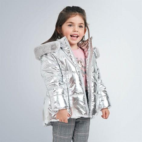 Chaquetón anorak niña metalizado color Plata