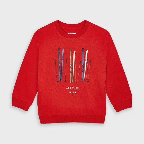 Sudadera niño serigrafia esqui color Flame