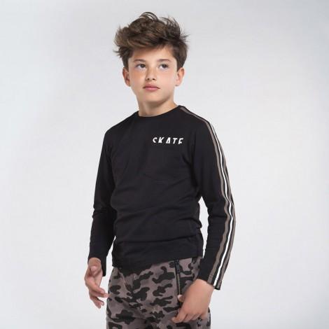 Camiseta chico manga larga bolsillo color Negro