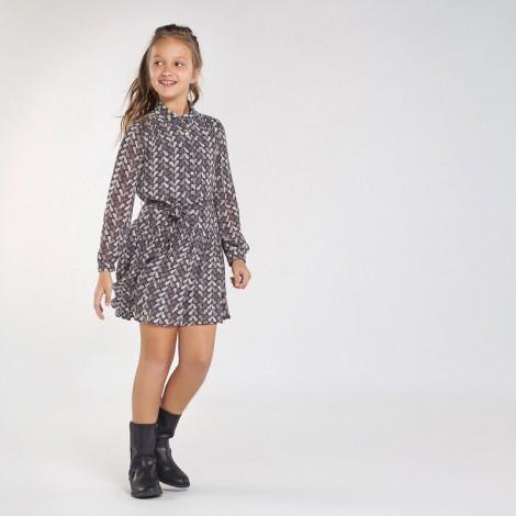 Vestido niña de gasa estampada color Plomo