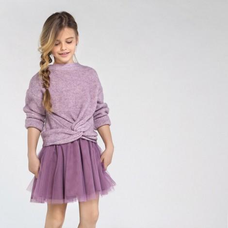 Vestido niña tricot y tul combinado color Malva