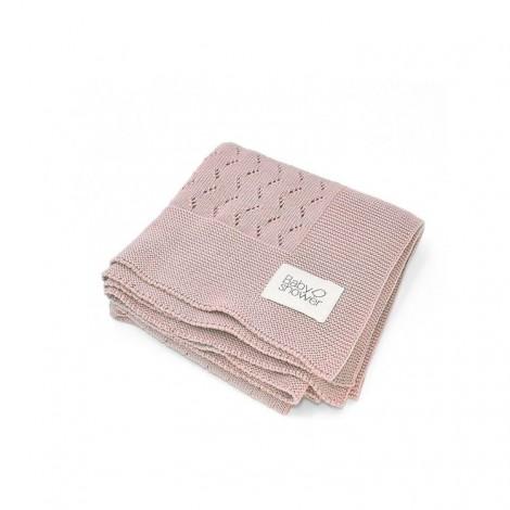 Manta recién nacido de tricot en rose
