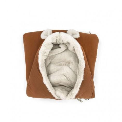 Saco bebé polar TEDDY CARAMEL POWDER orejitas