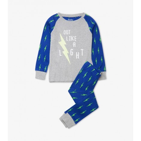 Pijama infantil rayo fluorescente gris y azul