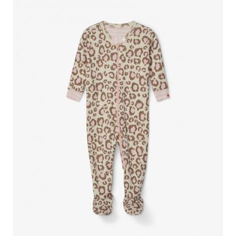Pijama bebé con pie en animal print crema y rosa