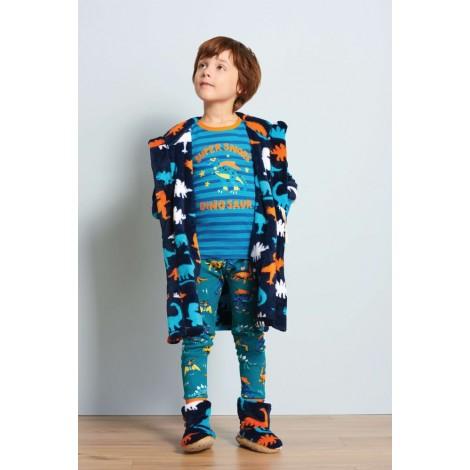 Pantuflas de felpa niño azules DINOS multicolor