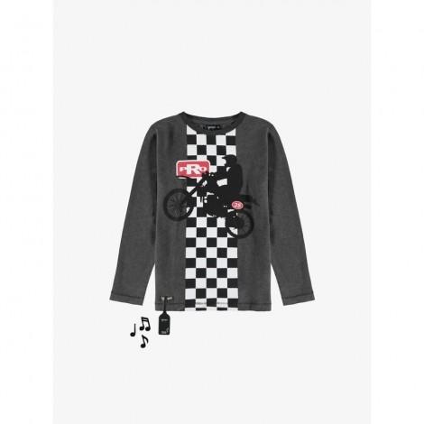 Camiseta sonido MOTOCROSS M/L gris para niño