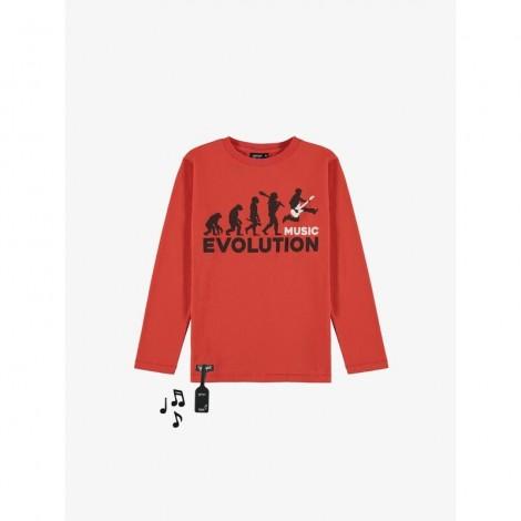 Camiseta sonido MUSIC EVOLUTION M/L rojo infantil