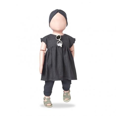 Vestido rallitas ARLET de bebé en ANTRACITA